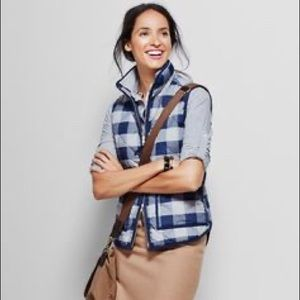 J. Crew Down Excursion Vest Gingham Plaid Check